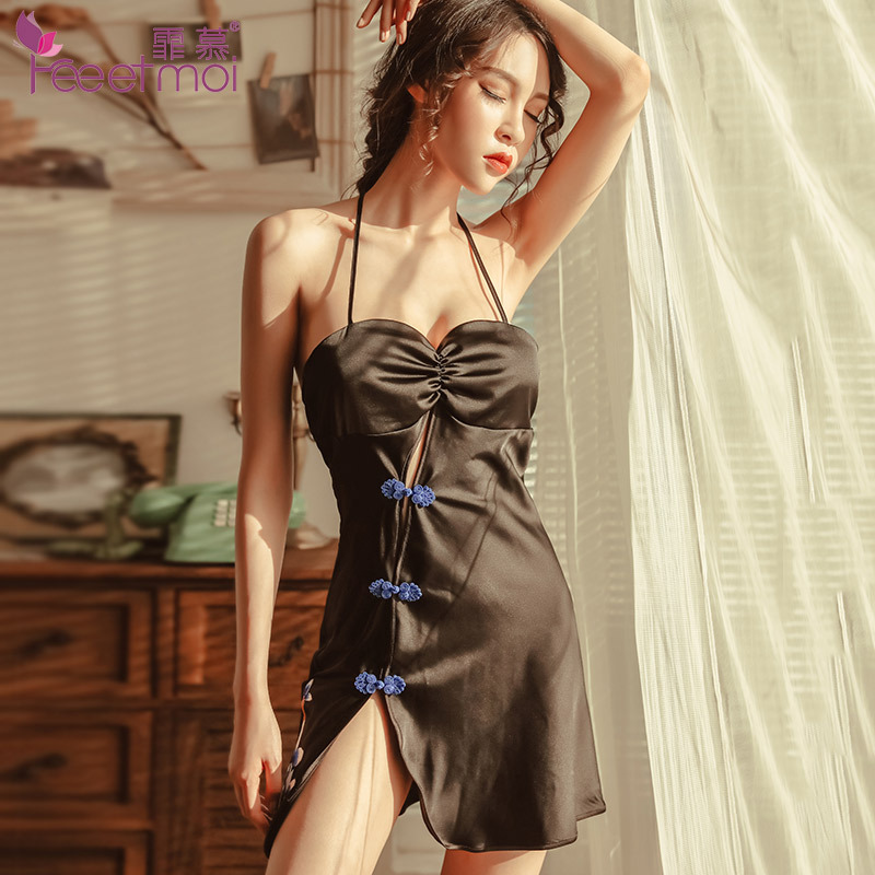 wholesale limpid in sight on feet at US $15.0 |Classical Chinese Style Cheongsam Nightgown Women Sleepwear  Halter Backless Night Dress Slip Silk Satin Sleep Dress Night Wear-in  Nightgowns ...
