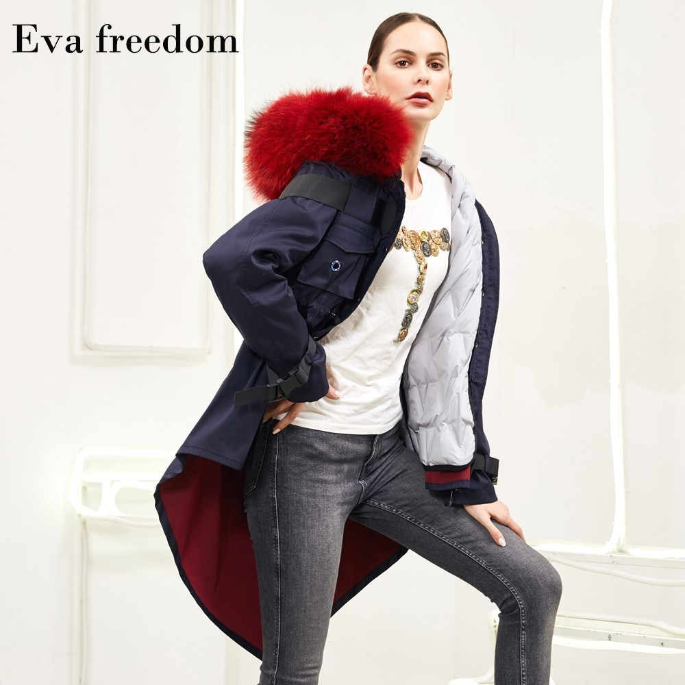 Eva Freedom 2019 Winter new arrival parker loose   down     coat   female raccoon fur hooded   down   jackets women 1128