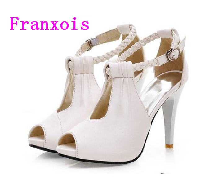Franxois summer new high heeled shoes fish head waterproof for Fish head shoes