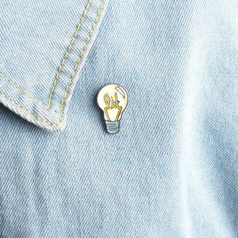 Bros & Pin Kartun Lampu Bohlam Pin Ransel Kemeja Jeans Dekoratif Wanita Wanita Perhiasan Aksesoris Jilbab Pin