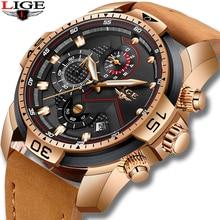 LIGE Mens Watches Top Brand Luxury Military Sport Watch Men Leather Waterproof Wristwatch Analog Quartz Watch Relogio Masculino цена