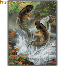 Peter ren Diamond painting cross stitch full filled 3d Square resin particles rhinestone Mosaic Diamond embroidery Jump the carp