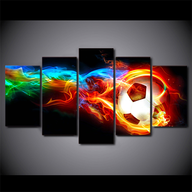 Wonderful 5 Pieces Burning Socer Football Still Life Canvas Wall Art HD Prints .