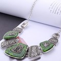 New Spring Green Crystal Women Brand Maxi Statement Necklaces& Pendants Vintage Turkish Jewelry Necklace