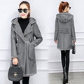 New Winter Collection 2016 lambswool Coat Medium Length Fashionable PU coat Women's Hooded Warm Jacket