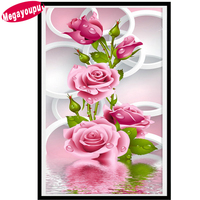 5D Diy Diamond Painting Cross Stitch Diamond Mosaic Pink Rose Diamond Embroidery Flower Vertical Print Round