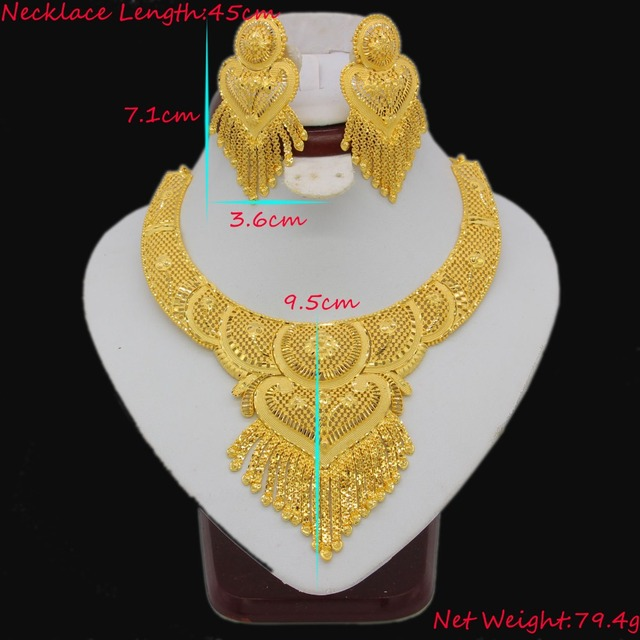 Luxury Necklace/Earrings Jewelry Set For Women Girls Gold Color Elegant Arab/Ethiopian Bridal Wedding/Party Gifts