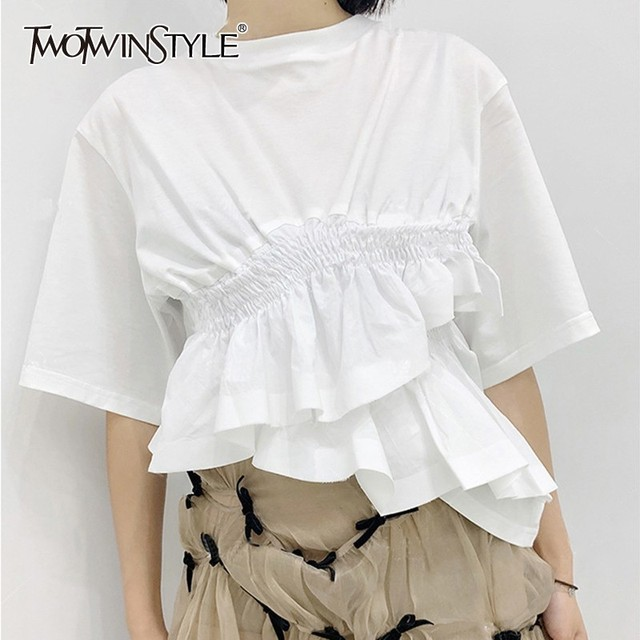 a321ac22f07 TWOTWINSTYLE Korean White T Shirt For Women O Neck Half Sleeve Tunic  Irregular Ruffles Tops Clothes Female Fashion 2019 Summer