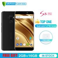 Ulefone S8 Pro телефон смартфон телефоны смартфоны двойная камера 13MP+5MP 5.3 дюйма HD MTK6737 Quad Core Android 7.0 2 ГБ + 16 ГБ сканер отпечатков пальцев 4G смартфон