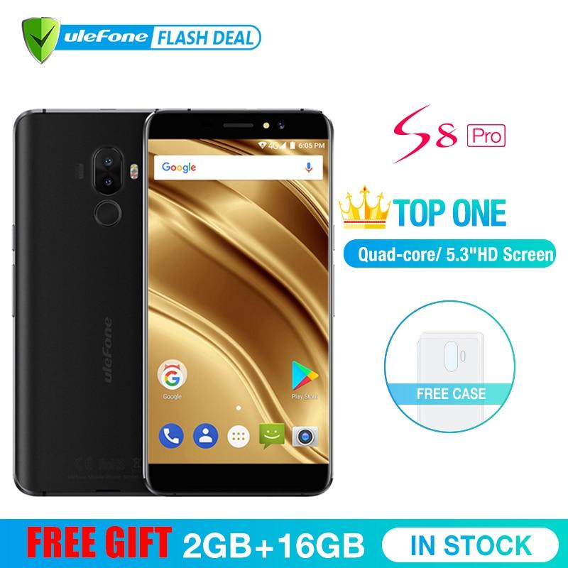 Ulefone S8 Pro teléfono móvil 5,3 pulgadas HD MTK6737 Quad Core Android 7,0 2 GB + 16 GB de huellas dactilares de 4G Smartphone