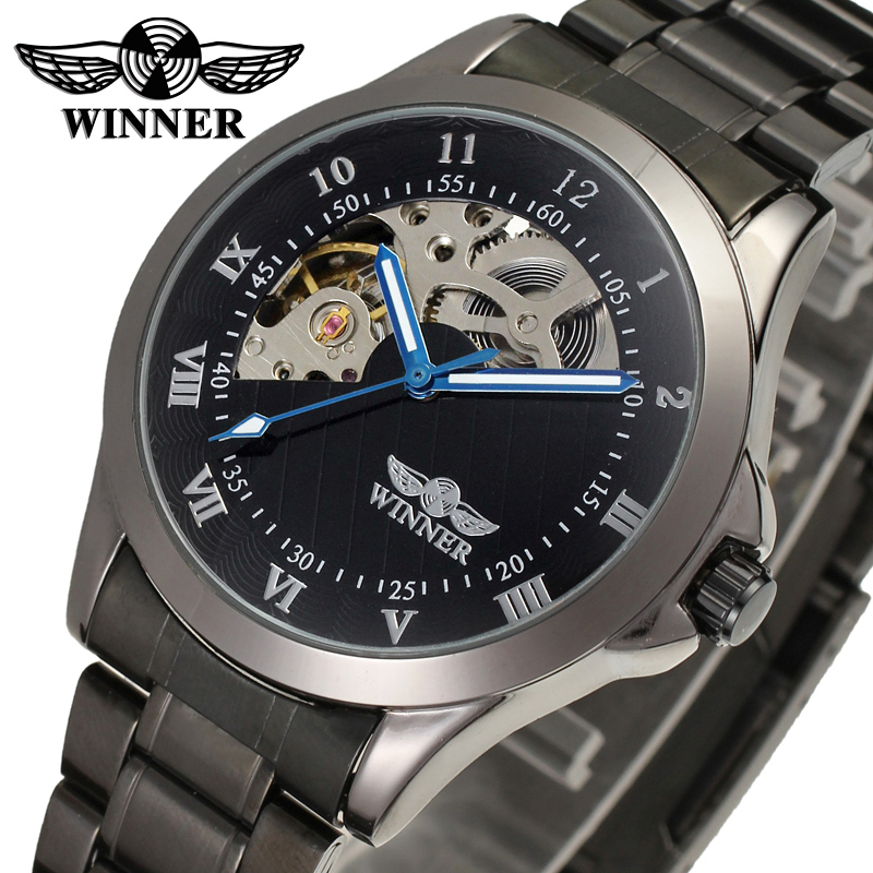 Fashion WINNER Men Luxury Brand Black Skeleton Stainless Steel Watch Automatic Mechanical Wristwatches Gift Box Relogio