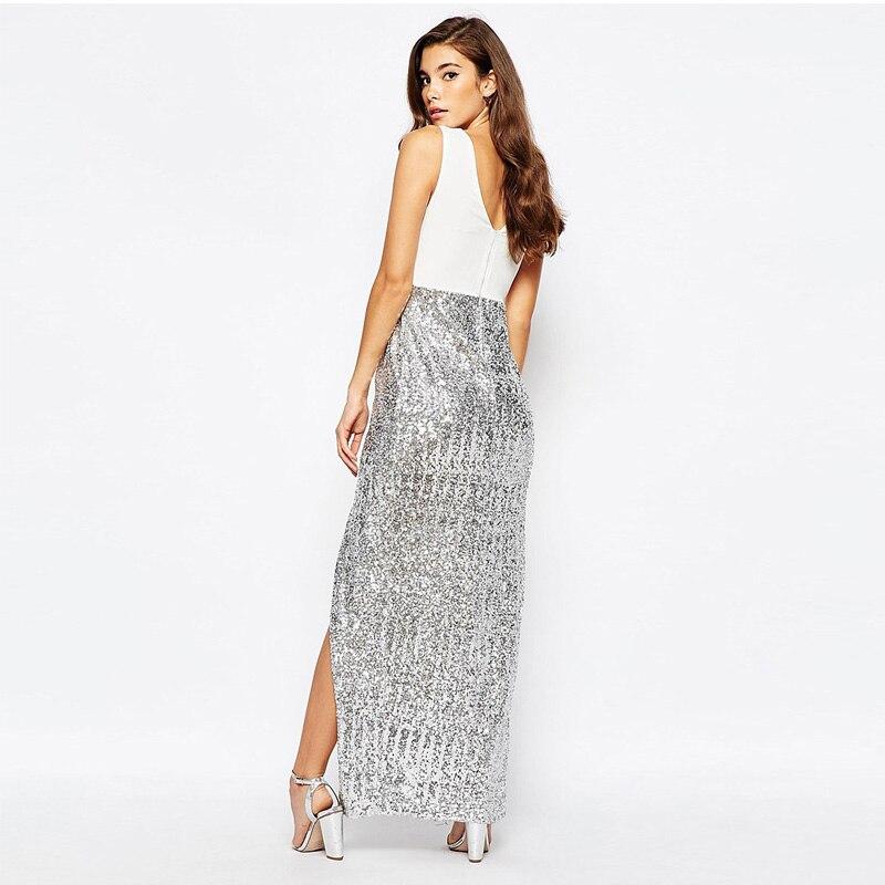 Alta cintura dividida sexy Con Cuello En V sin mangas vestidos de las mujeres de