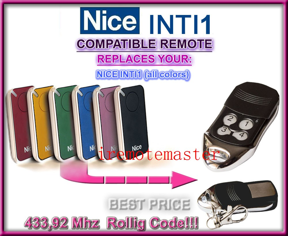 Nice INTI1 433mhz rolling code Universal replacement remote control dhl free shipping nice flor s replacement remote control 433mhz rolling code top quality rolling code 433 92mhz