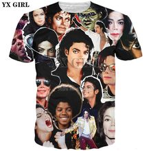 YX MEISJE 2018 zomer Nieuwe stijl Mode T-shirt King of Pop Michael Jackson Collage Print 3d mannen vrouwen cool t-shirt YT-1(China)