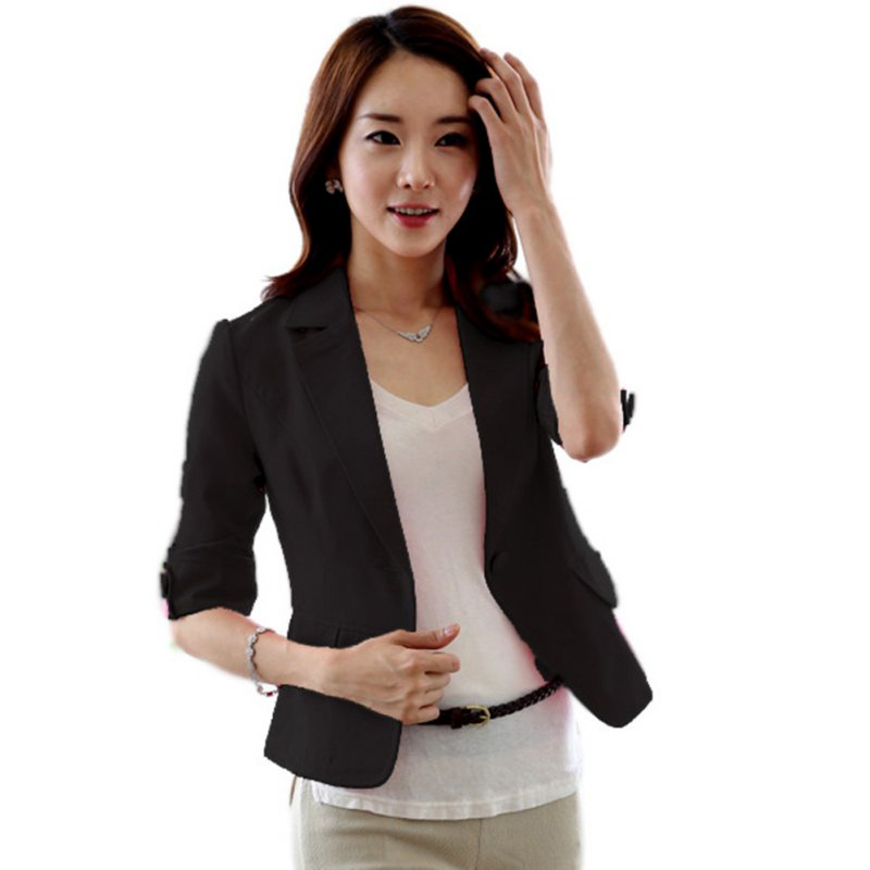 Solid Office Lady Casual Jacket Single Breasted Women Blazer Mujer 3/4 Sleeve Women Blazers And Jackets Outwear Clothes
