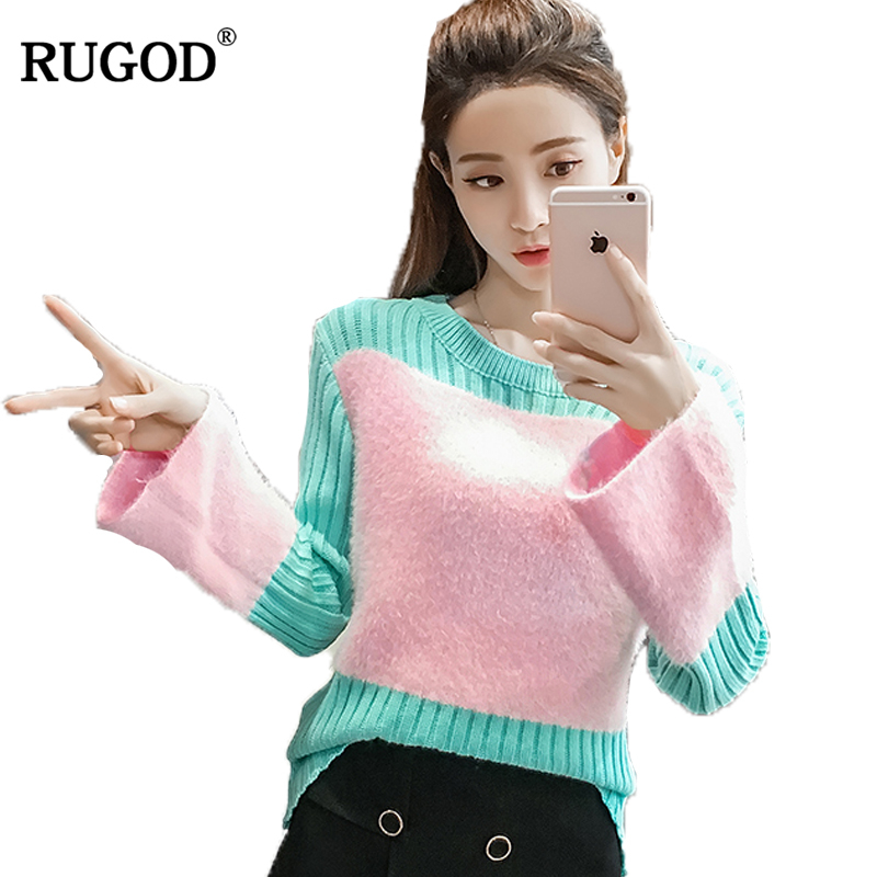 RUGOD Fashion Patchwork Christmas Sweater O-neck Flare Sleeve WomenS Sweater High Quality Winter Knitted Sweater