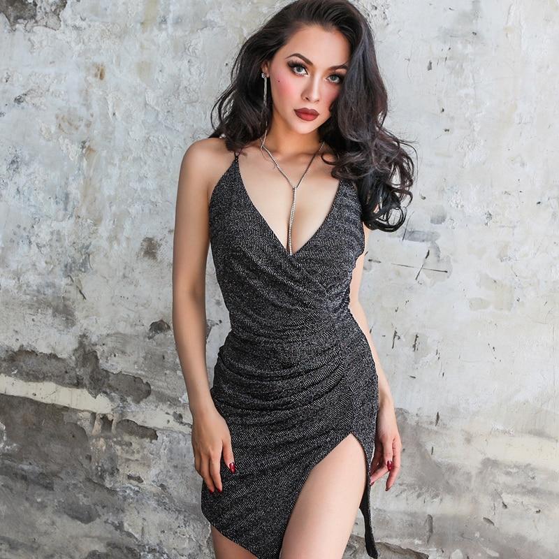 Women Sexy Twist Metallic Asymmetrical Mini Cami Dress ...