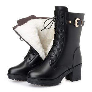 Image 1 - MORAZORA 2020 hot genuine leather boots women zip buckle warm sheep wool snow boots high heela winter platform ankle boots lady