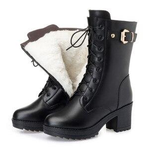 Image 1 - Morazora 2020 botas de couro genuíno quente mulheres zip fivela de lã de ovelha quente botas de neve alta heela inverno plataforma tornozelo botas senhora