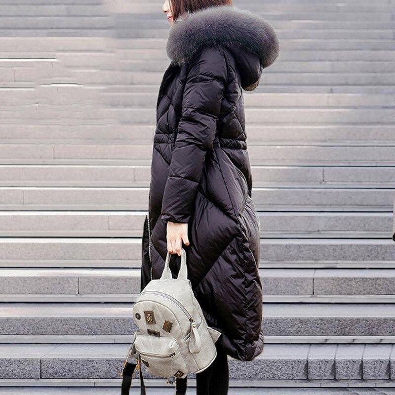 Parkas gray 2018 Renard Et Gamme Femmes Cw306 Grande Long D'hiver Black Vers Capuchon Moyen De Épais Haut Le Taille Femelle Nouveau Veste Dames Col À Fourrure Bas gEqxFY