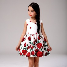 New Fashion Children Dresses Rose Floral Print Girls Dresses Sleeveless Velvet Dresses Kids Clothes