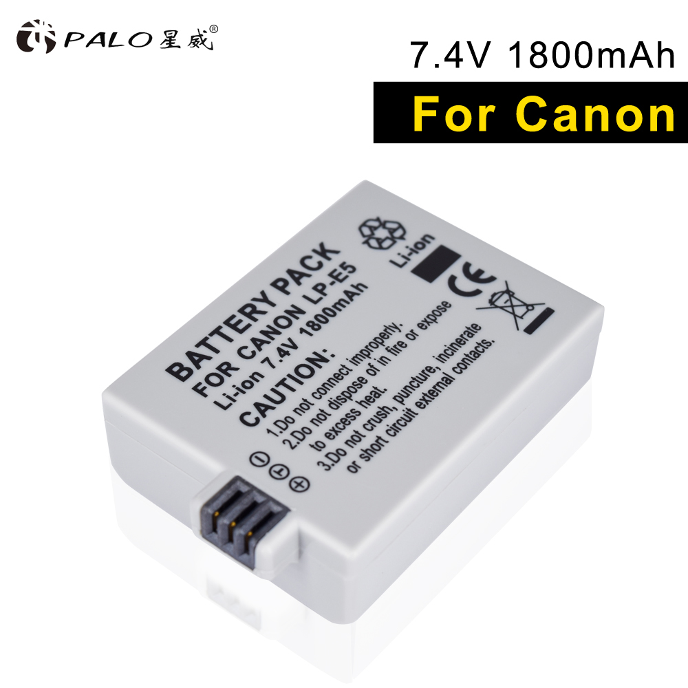 PALO LP-E5 2018 NEW 1pcs li-ion camera battery high capacity 7.4V 1800mah for Canon Eos 450D 500D 1000D Kiss X3 Kiss F Rebel Xsi dste lp e12 li ion battery for canon eos m m2 100d kiss x7 rebel sl1 camera