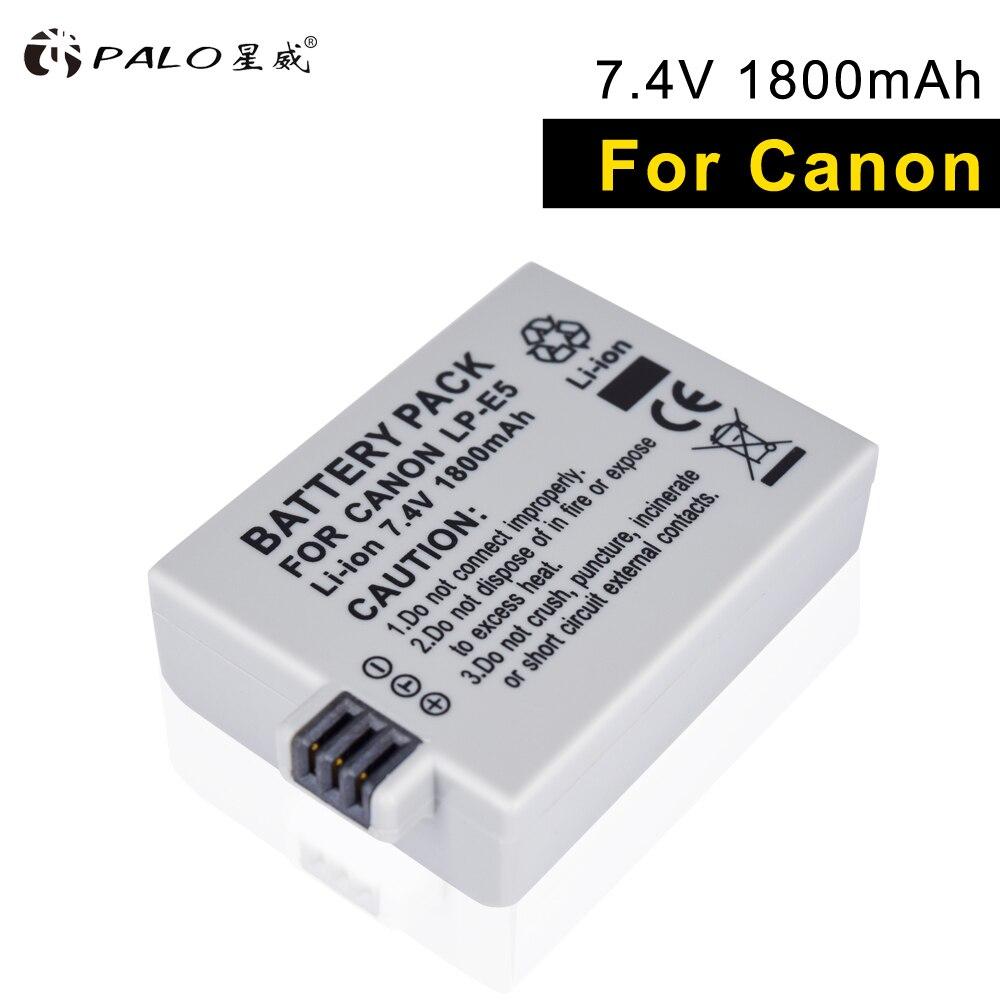 PALO LP-E5 2018 nuevo 1 piezas batería del li-ion alta capacidad 7,4 V 1800 MAH para Canon Eos 450D 500D 1000D beso X3 beso F Rebel Xsi