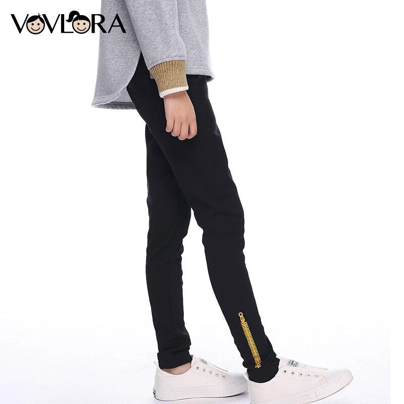 Meninas calças de desportos de inverno crianças leggings de lã de algodão skinny mid impressão zipper calças lápis para meninas tamanho 9 10 11 12 13 14Y