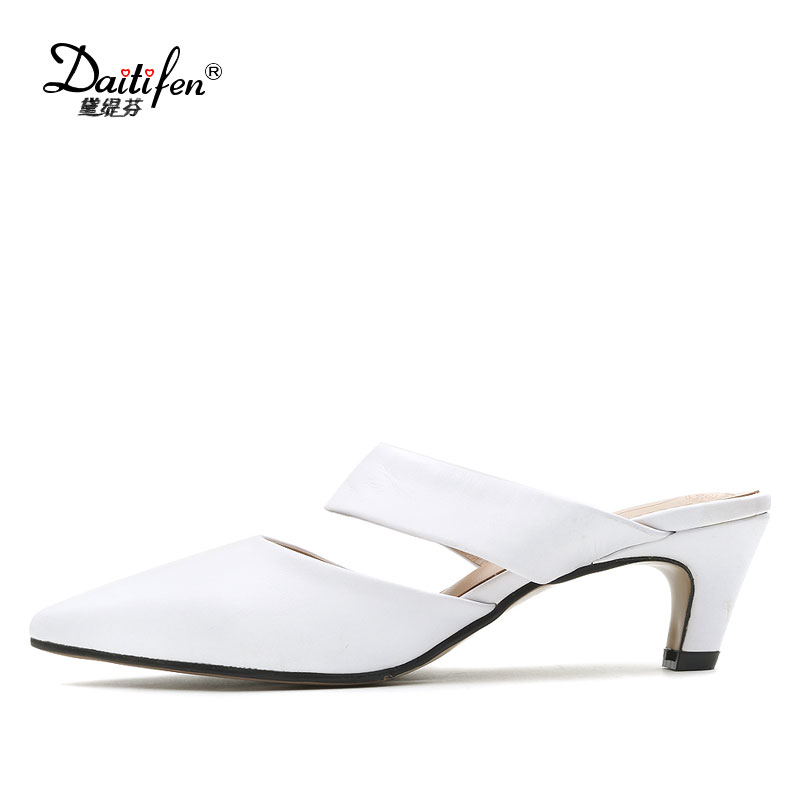 Daitifen Leather Mules Women Slides Sexy Pointed Toe Slipper Sandals Woman Shoes Summer Sandals Luxury Designers Women Slippers flats slippers suede pink sandals mary jane genuine leather pointy summer slides designer shoes women luxury 2018 mules gray