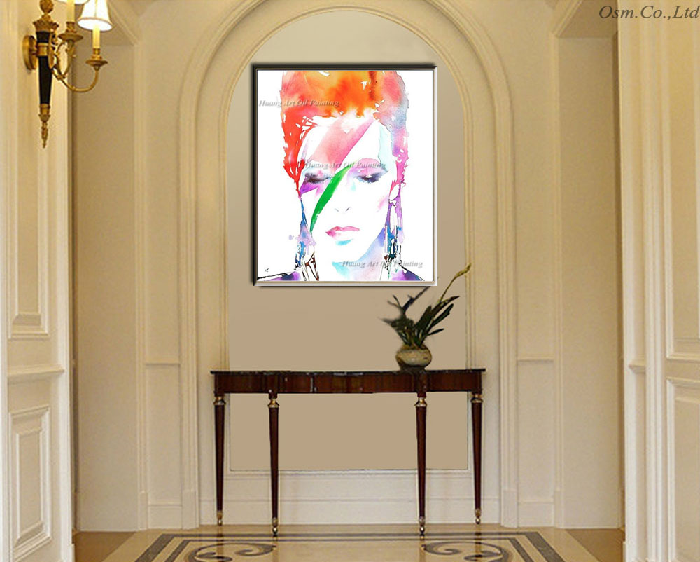 Hand Painted Modern David Bowie Face Oil Painting Wall Decor ...