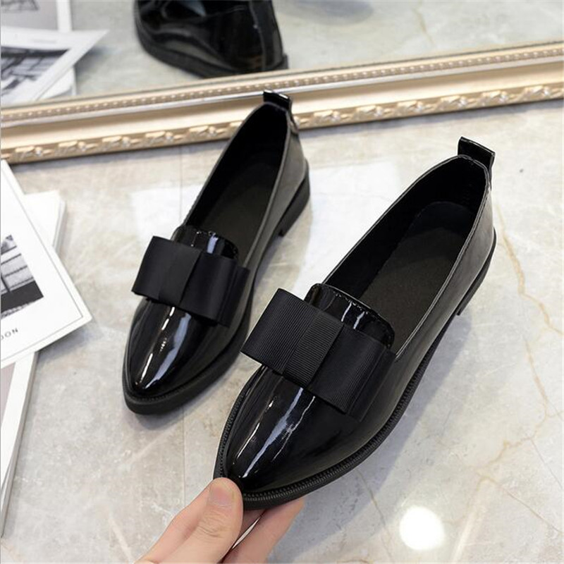 ELGEER Classic Brand Shoes Women Casual Pointed Toe Black Oxford Shoes for Women Flats Comfortable Slip on Women Shoes cresfimix women cute spring summer slip on flat shoes with pearl female casual street flats lady fashion pointed toe shoes