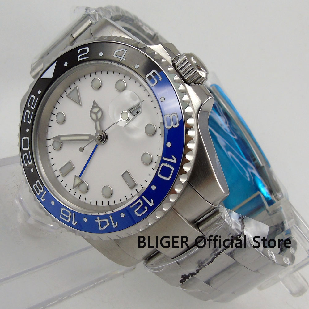 BLIGER 40mm White Sterile Dial Blue Black Ceramic Bezel GMT Function Luminous Marks Sapphire Automatic Movement Men's Watch B183 solid bliger 40mm white sterile dial blue ceramic bezel gmt function luminous hand date clcok automatic movement men s watch b51