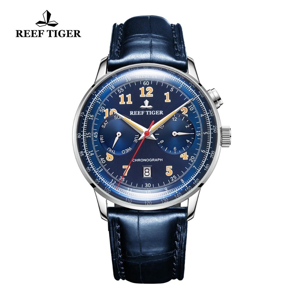 Reef Tiger/RT Top Brand Blue Automatic Pilot Watch Men Functional Mechanical Watch Waterproof Leather Band Wrist Watch RGA9122