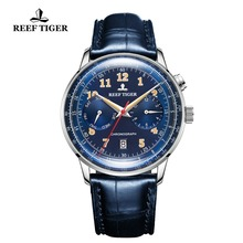 Reef Tiger/RT Top Brand Blue Automatic Pilot Watch Men Funct