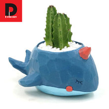 Dehomy Diy Micro-landscape Creative Multi-meat Plant Flower Pots Cute Whale Multi-flower Pot Office Resin Ornament Flower Pot