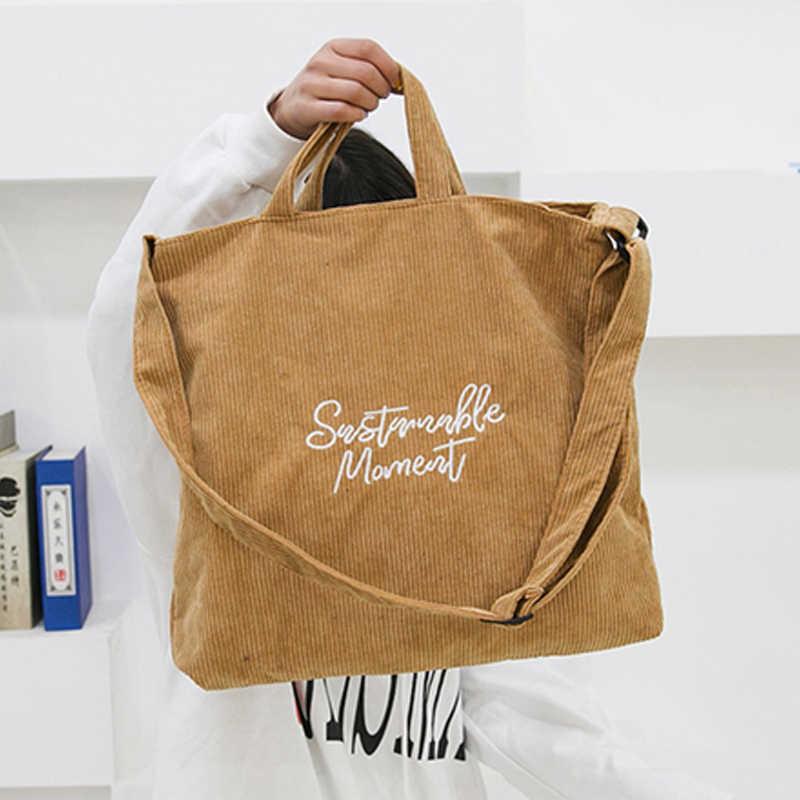 NIBESSER Corduroy Casual Women Handbag Embroidery Letter Canvas Shoulder Crossbody Bags Female Shopper Tote Large Capacity Bag