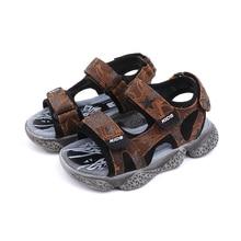 купить 2019 Summer Kids Shoes Boys Sandals Fashion High Quality Boy Shoes Soft Sole Genuine Leather Beach Children Sandals недорого