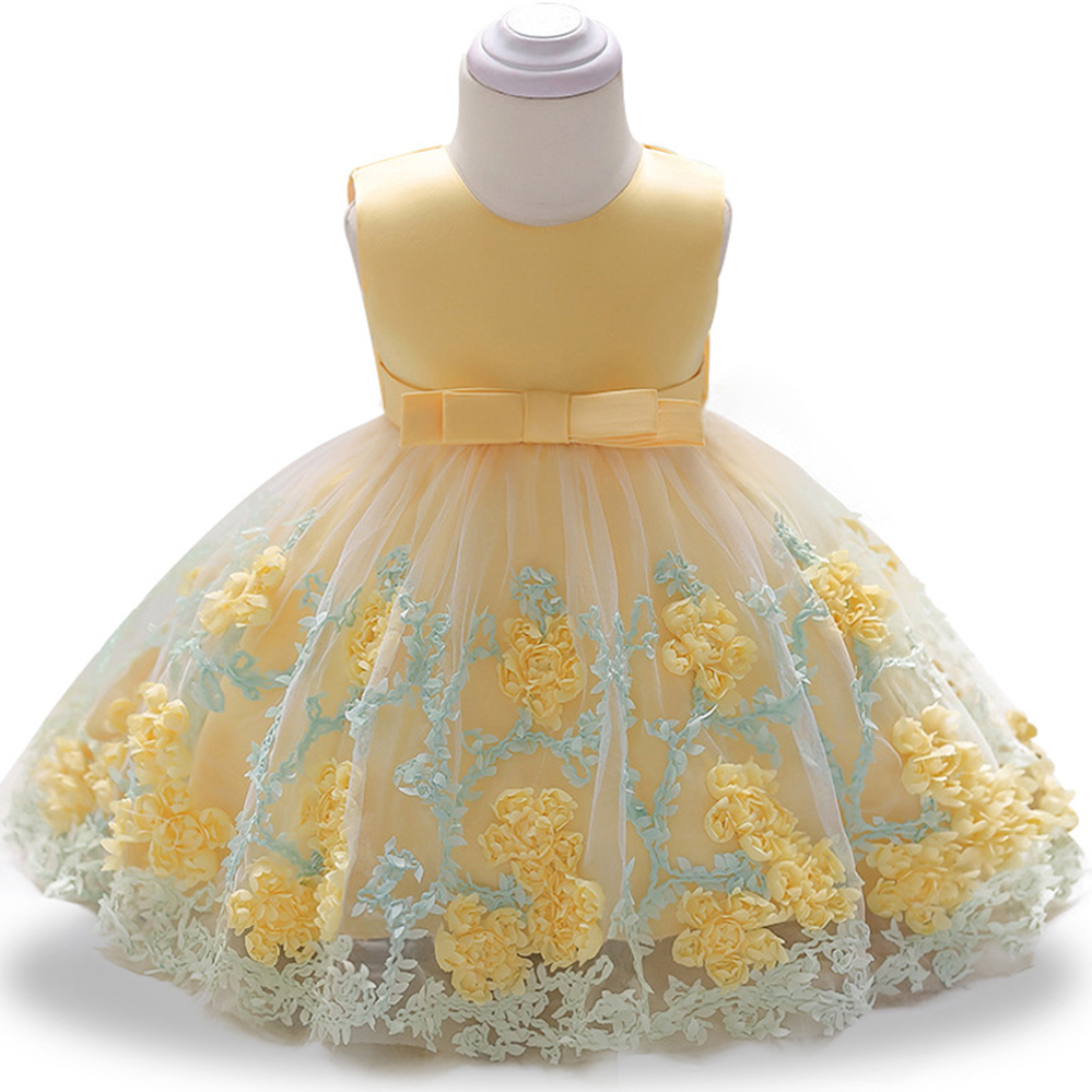 2019 Newborn Baby Kids Girls Princess Bowknot Demin Dress Party Pageant Dress WG