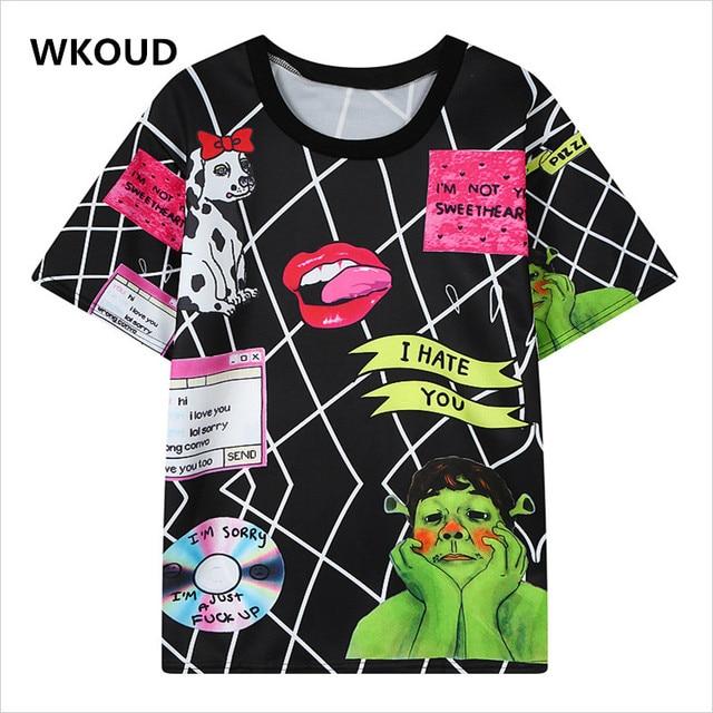 Wkoud New Character Printed T-shirts Harajuku Geometric T shirts Women's Fashion Loose O-neck Short Sleeve Tops Tees T2300