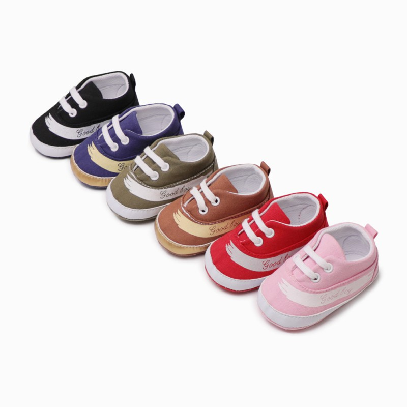 2018 New Baby Boys Girls Canvas Shoes High Quality One Strap Newborn Baby Toddler Fashion First Walkers Tie Shoes