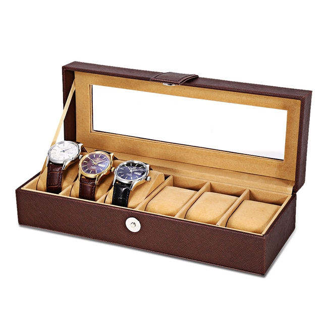 Antique lujo 6 Rejillas de Cuero Multifuncional Caja de Reloj Caja de Reloj de Exhibición de La Joyería Colección Almacenamiento Organizador Cuadro Titular
