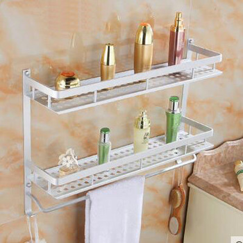 1/2 Tier Space Aluminum bathroom shelves racks wall mounted, Bathroom shelf triangle/square storage rack shelf, Free Shipping фото