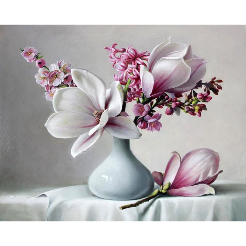 Chenistory Rahmenlose Magnolia Diy Malerei Durch Zahlen Kits Acryl
