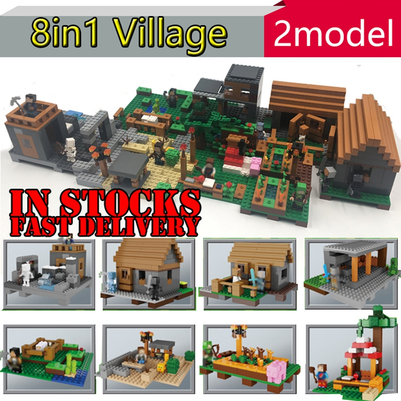 03039 1125pcs Lepin My World The Village 8 in 1 Minecraft action anime figures Building Blocks Bricks toys for children  21128