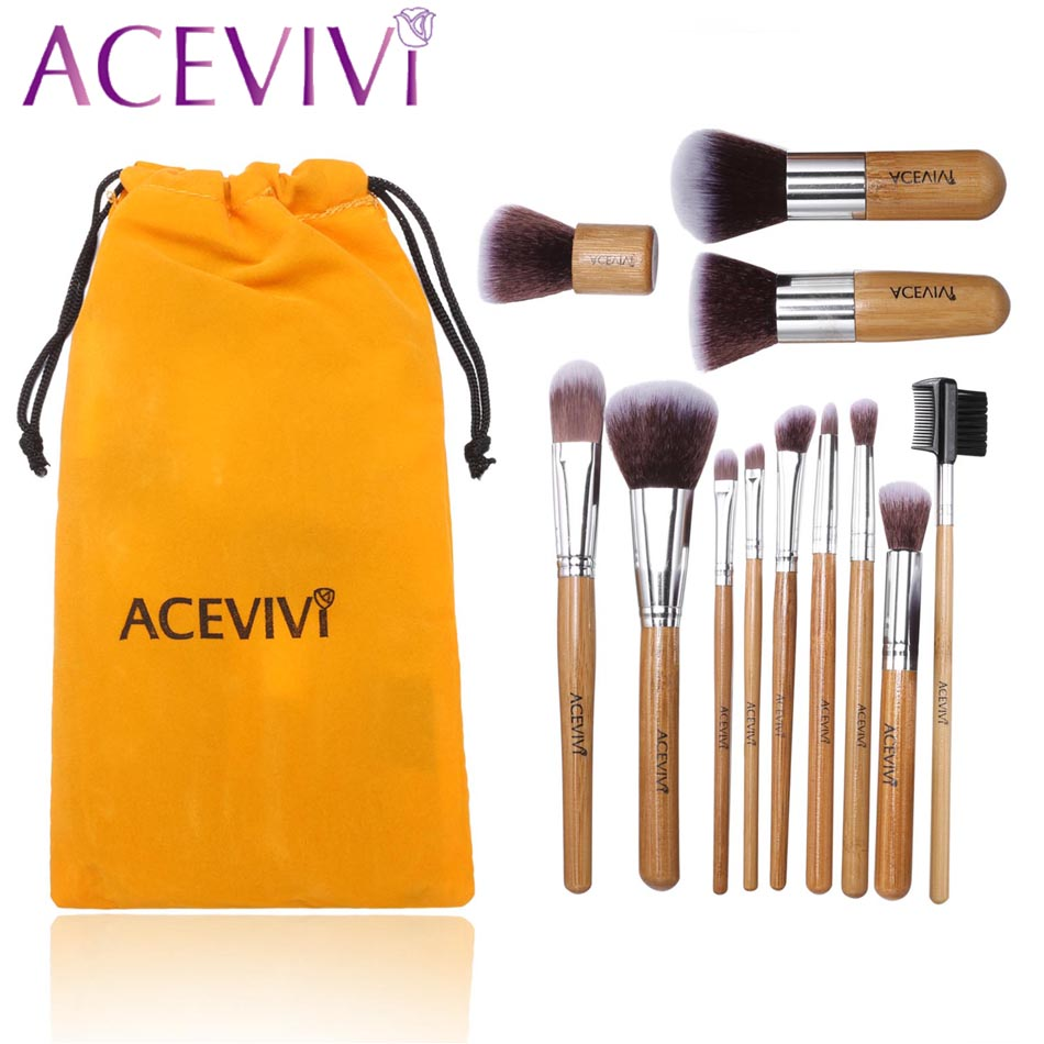 ACEVIVI Professional 12 Piece Makeup Brush Set Cosmetic Brushes Set Synthetic Blending Blush Foundation Eyeshadow Lip Tool U2 7pcs makeup brushes professional fashion mermaid makeup brush synthetic hair eyebrow eyeliner blush cosmetic