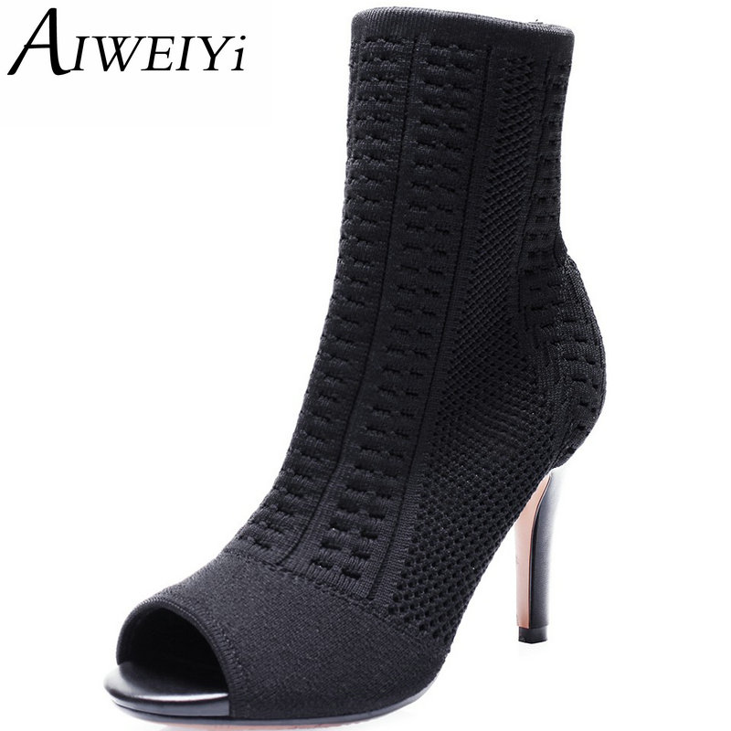 ФОТО AIWEIYi 2017 Sexy Boots Women Peep Toe Stretch Cut Out Ankle Boots Fashion High Heel Party Shoes Women High Heeled Sandals