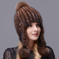 Hand kintted Natural Mink Fur Hat Thick And Warmth Long Ear Cap Double Closely Woven Hat For Women With Three Fox Fur Pom Poms