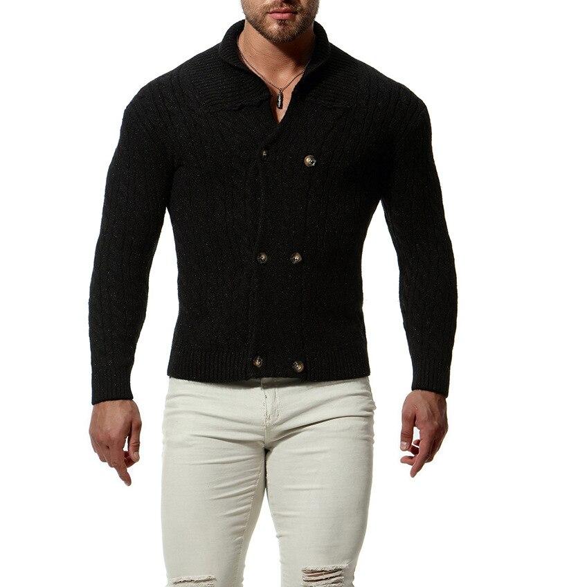 Hommes col châle Cardigan chandail bouton avant vêtement tricoté solides