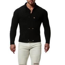 Мужская шаль свитер-кардиган с воротником Button Front Solid Knitwear