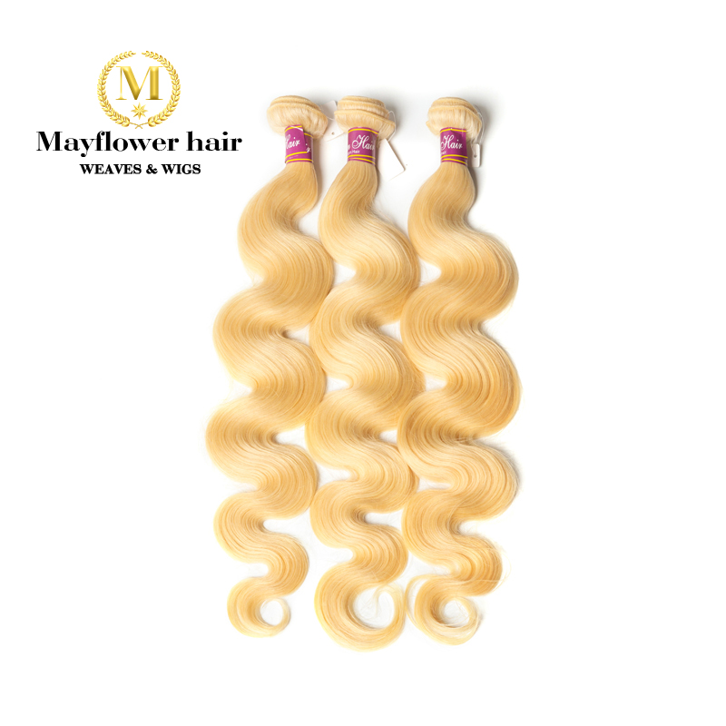 Mayflowe 10A Blonde 613 Malaysian virgin hair body wave 1/2/3/4 bundles from 12-26 No red hair No smell no tangle Free shipping image